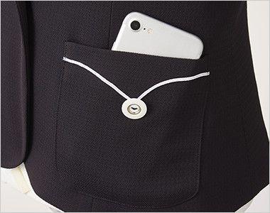アルファピア AR4675 [春夏用]マリンテイスト・ジャケット [無地/ストレッチ/吸汗速乾] 白のブレードとボタンが効果的なアクセントの両脇ポケット