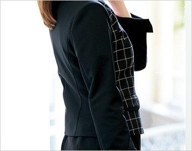 アルファピア AR4858 [通年]ジップアップ・ノーカラージャケット[ニット/防シワ] ニット素材の袖