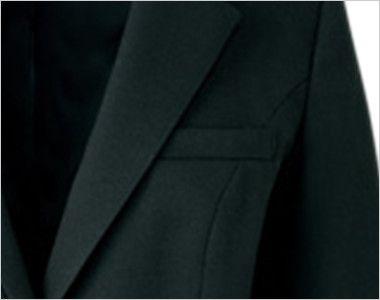 ユキトリイ YT4911 [通年]漆黒のツイード素材がクールな印象のジャケット 名札ホール付のポケット