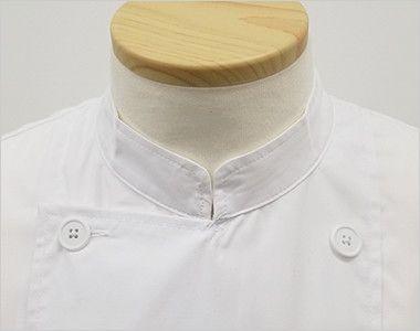 AS-6021 チトセ(アルベ) ダブル コックシャツ/七分袖(男女兼用) スタンドカラー・ダブルタイプできっちりとした印象を与えます。