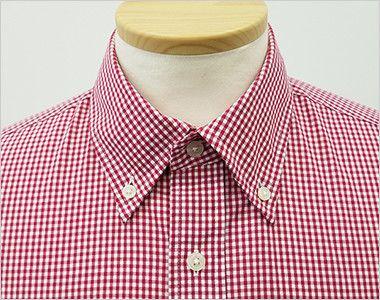 EP-7818 チトセ(アルベ) ボタンダウンシャツ/七分袖(男女兼用)ギンガムチェック きっちりとした印象のボタンダウンの襟元