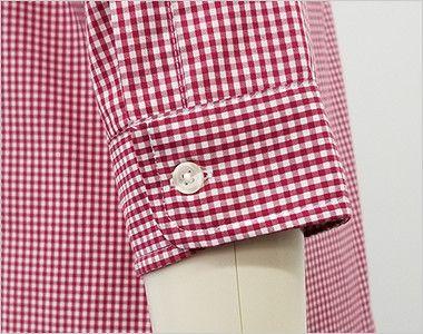 EP-7818 チトセ(アルベ) ボタンダウンシャツ/七分袖(男女兼用)ギンガムチェック 袖口部分