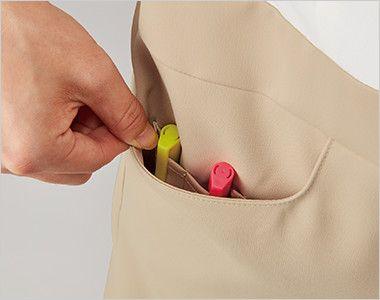 MK-0001 ミッシェルクラン(MICHEL KLEIN) ワンピース(女性用) ポケットはペン差しポケットが2つあり、小物と区別して収納できます。