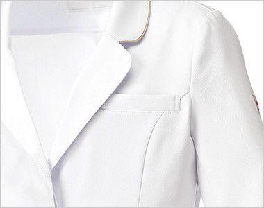 MK-0012 ミッシェルクラン(MICHEL KLEIN) ドクターコート(女性用) PHSなどを収納できる左胸ポケット