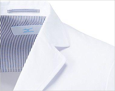 MZ-0023 ミズノ(mizuno) レディースドクターコート・シングル(女性用) フラワーホールの飾り刺繍