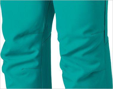 MZ-0093 ミズノ(mizuno) スクラブパンツ(男女兼用)股下マチ 両ひざ ダーツを入れ立体感を出す事で、膝の動きをサポートし動きやすい。歩行やかがむ作業など、どんな動きにも対応し快適な着用感です。