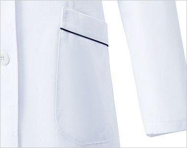 MZ-0107 ミズノ(mizuno) パイピング レディースドクターコート(女性用) ポケット付き