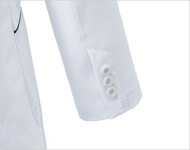 MZ-0107 ミズノ(mizuno) パイピング レディースドクターコート(女性用) 3つボタンの袖口
