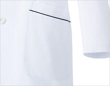 MZ-0108 ミズノ(mizuno) パイピング メンズドクターコート・シングル(男性用) ポケット(右脇だけ中ポケット付き)