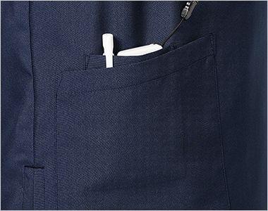 MZ-0231 ミズノ(mizuno) 抗ウイルス スクラブ(男女兼用) 右側だけ中ポケット付き。PHS、小物の収納ができて便利です。 左ポケットが大きなポケットだけです。