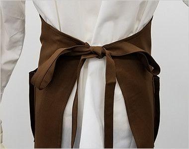T-8091 チトセ(アルベ) 胸当てエプロン(男女兼用) 自由な結び方が可能な腰紐