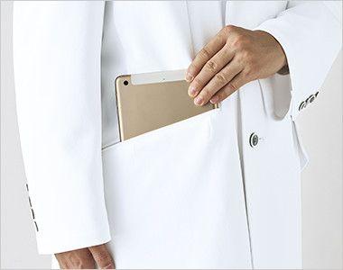 UN-0080 UNITE(ユナイト) 長袖ドクターコート(男性用) 小型タブレット端末がすっぽり収まる大きなポケット