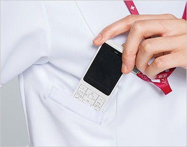 1016EW FOLK(フォーク) ZIP SCRUB メンズスクラブ(男性用) PHSの出し入れがしやすいサイズと位置に設けられたポケット
