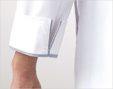 1523ES FOLK(フォーク) 診察衣シングル(男性用) パイピングが折り返した際のアクセントに。