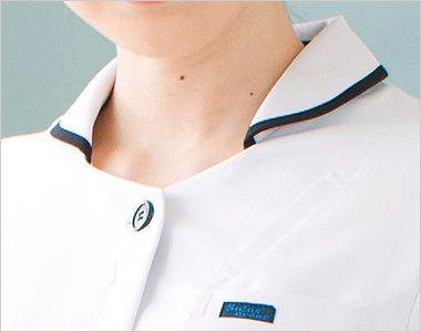 3017EW FOLK(フォーク) ナースワンピース(女性用) ネイビーのテープカラーが入った襟