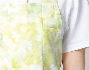 [在庫限り/返品交換不可]4100DP FOLK(フォーク) 介護 胸当てエプロン 女性用 小物収納に便利なポケット