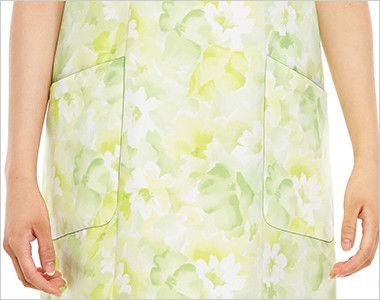 [在庫限り/返品交換不可]4100DP FOLK(フォーク) 介護 胸当てエプロン 女性用 収納力抜群