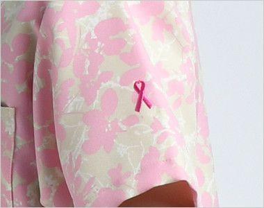 [在庫限り/返品NG]7015SC FOLK(フォーク)/フラワー レディース花柄スクラブ(女性用) ピンクリボンマーク刺繍付き