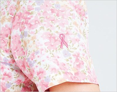 7019SC FOLK(フォーク)/フラワー 花柄ジップスクラブ(女性用)  ピンクリボンマーク刺繍付き