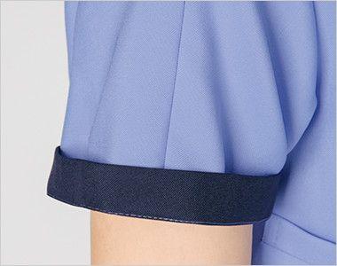 7022SC FOLK(フォーク) レディス ジップスクラブ(女性用) 折り返して着られる袖デザイン。 袖口のインナーカラーがアクセントに。