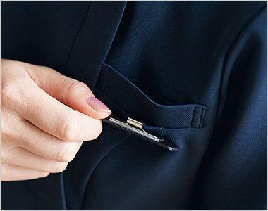 7056SC FOLK(フォーク) チュニック(女性用) ペンなどをさせるポケットと名札をつけられる二重構造の左胸ポケット