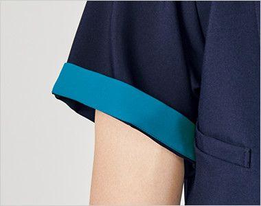 7058SC FOLK(フォーク) ZIP SCRUB ジップスクラブ(R)(男性用) 折り返して着られる袖デザインは、袖口のインナーカラーが折り返した際のアクセントに。