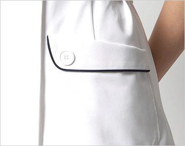 HI108 ワコール ナースワンピース(女性用) ボタンがアクセントのフラップポケット