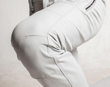 3572 アイズフロンティア ナイロン2WAYストレッチカーゴパンツ 縦方向の伸縮性が高い生地で、ひざ部分の曲げ伸ばしがしやすい