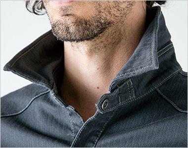 7161 アイズフロンティア ダブルアクティブワークシャツ ワイヤー入りで立襟スタイルも自由自在