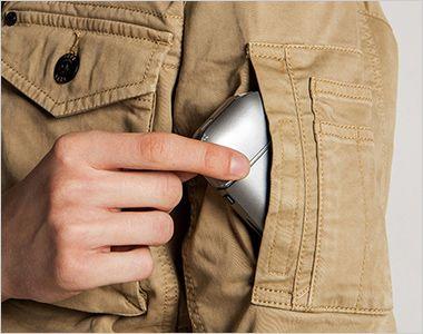 7890 アイズフロンティア 製品染めコットンストレッチワークジャケット 横から小物が入るファスナーポケット