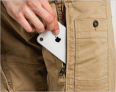 7892 アイズフロンティア 製品染めコットンストレッチカーゴパンツ スマホが入る縦ファスナーのカーゴポケット