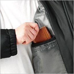 自重堂 48483 [秋冬用]メガヒート裏アルミ防寒ハーフコート(フード付・取り外し可能)  内ポケット