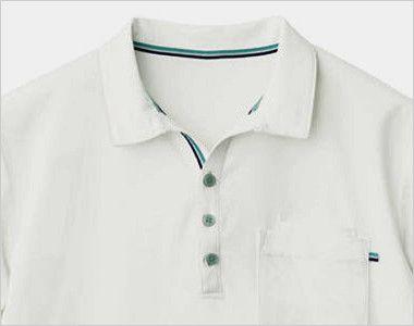 自重堂 WH90718 WHISEL ドライ半袖ポロシャツ(男女兼用) 衿元はすっきり見えるスキッパー仕様
