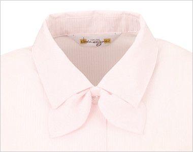 en joie(アンジョア) 01060 [通年]光沢のストライプがシャープで華やかな長袖ブラウス(リボン付) 衿元はショールカラーで、取外し出来る同じ生地のリボン