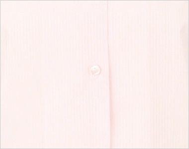 en joie(アンジョア) 01060 [通年]光沢のストライプがシャープで華やかな長袖ブラウス(リボン付) 前立部分はシンプルなボタン