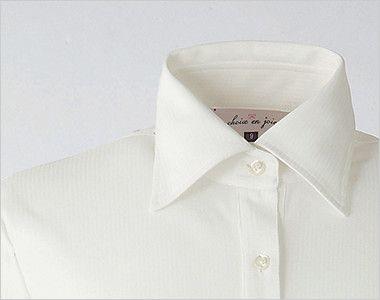 en joie(アンジョア) 01165 [通年]シワになりにくくストレッチで透け防止の長袖ニットシャツ シャツ仕様