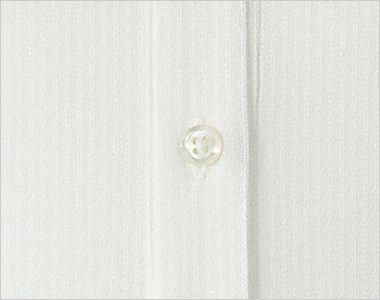 en joie(アンジョア) 01165 [通年]シワになりにくくストレッチで透け防止の長袖ニットシャツ シンプルな白ボタン