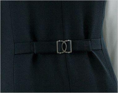 en joie(アンジョア) 11410 [通年]シルエットできれいに魅せるベスト 無地 ウエストのサイズ調節が可能な後ろ背ベルト