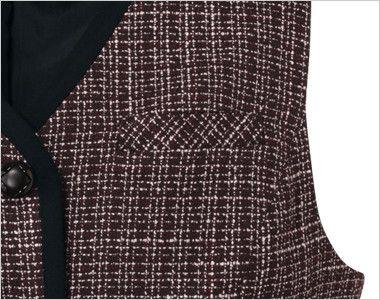en joie(アンジョア) 11430 [通年]黒のパイピングにワインカラーの上品なチェック柄ベスト ペンなどが収納できる左胸ポケット