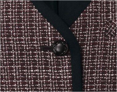 en joie(アンジョア) 11430 [通年]黒のパイピングにワインカラーの上品なチェック柄ベスト ダイヤ柄のシックでかわいい黒ボタン