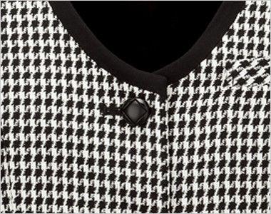 en joie(アンジョア) 11460 [通年]華やかで印象的なチドリチェック柄ベスト ダイヤ柄でシンプルかわいい黒ボタン
