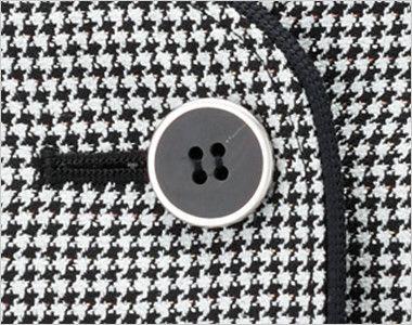 en joie(アンジョア) 11470 [通年]消臭抗菌加工×モノトーンの千鳥チェック柄ベスト シルバーの縁取りで定番の黒ボタン
