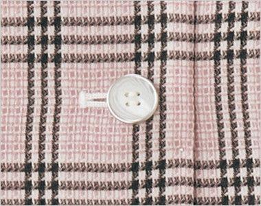 en joie(アンジョア) 11480 [通年]信頼感・安心感を演出!病院で人気のチェック柄ベスト 白ベースでマーブルな柄のボタン