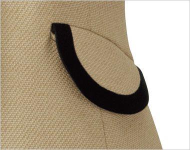 en joie(アンジョア) 11520 [通年]かっちり&かわいいベージュ×黒の気品漂うベスト 無地 丸くて可愛いフラップポケット