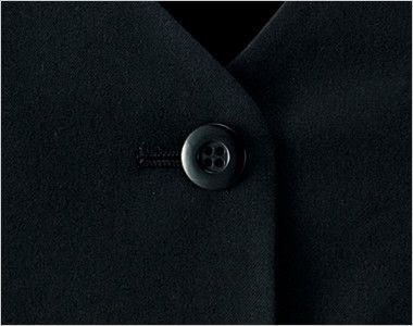 en joie(アンジョア) 11550 [秋冬用]高発色×なめらかな風合いのウールタッチな上質ベスト 無地 シンプルな黒ボタン