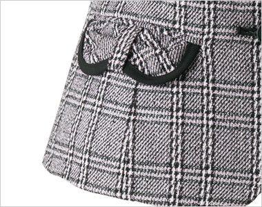 en joie(アンジョア) 11560 [通年]クラシカルな上品さ×ウール混のチェック柄ベスト リボンフラップの両脇ポケットには黒配色でさりげないポイントに