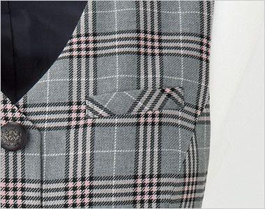 en joie(アンジョア) 11600 [通年]華やかチェックとシンプルなシングルボタンのベスト ペンなどの収納に便利なポケット