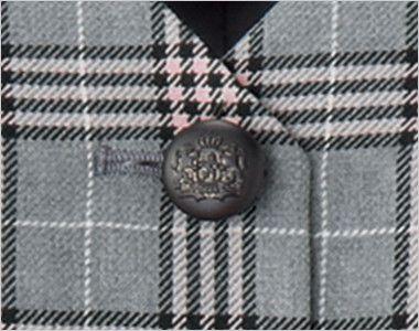 en joie(アンジョア) 11600 [通年]華やかチェックとシンプルなシングルボタンのベスト グレード感のあるヨーロピアンテイストなボタン