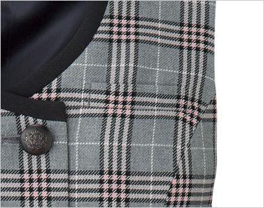 en joie(アンジョア) 11605 [通年]優しさと可愛らしさのあるダブルのチェック柄ベスト ボールペンなどの収納に最適なポケット
