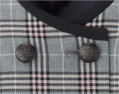 en joie(アンジョア) 11605 [通年]優しさと可愛らしさのあるダブルのチェック柄ベスト グレード感のあるヨーロピアンテイストなボタン